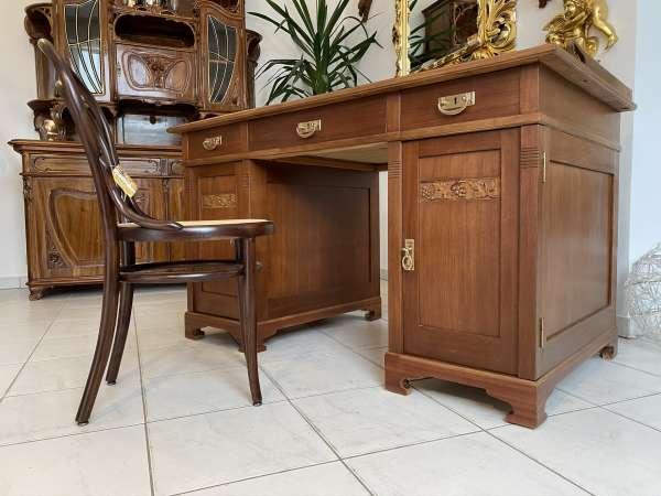 restaurierter Originalstück Jugendstil Schreibtisch Sekretär Freisteher E1798