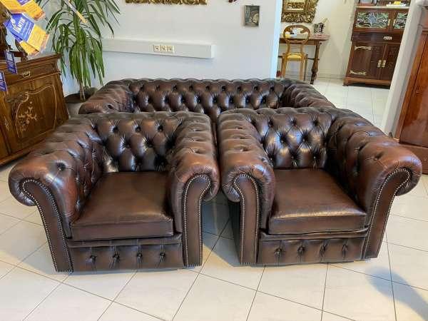Traum 3er Ensemble Chesterfield Sofa Clubfauteuils E1605