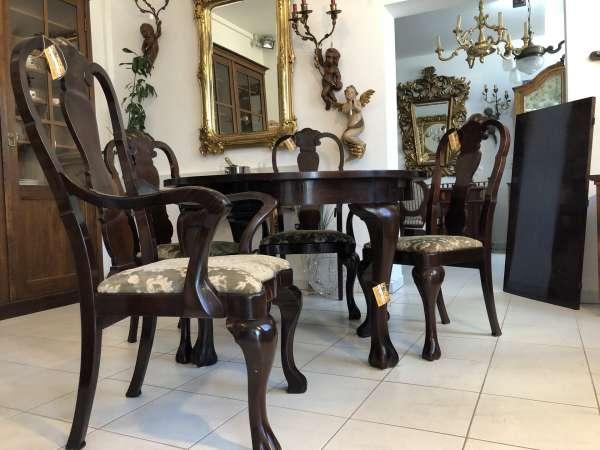 5 teilige Art Deco Chippendale Sitzgruppe Auszugtisch X2214