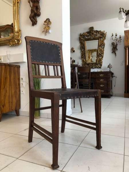 hübscher Jugendstil Sessel Eichenholz Stuhl beledert Z1372