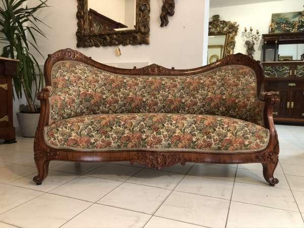 originales Spätbiedermeier Fledermaussofa Diwan Couch E1449