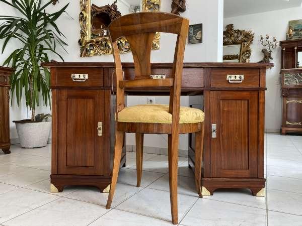restaurierter Originalstück Jugendstil Schreibtisch Sekretär Freisteher E1760