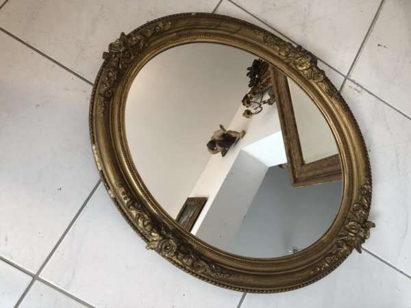 ovaler Biedermeier Spiegel Holzspiegel original X1608