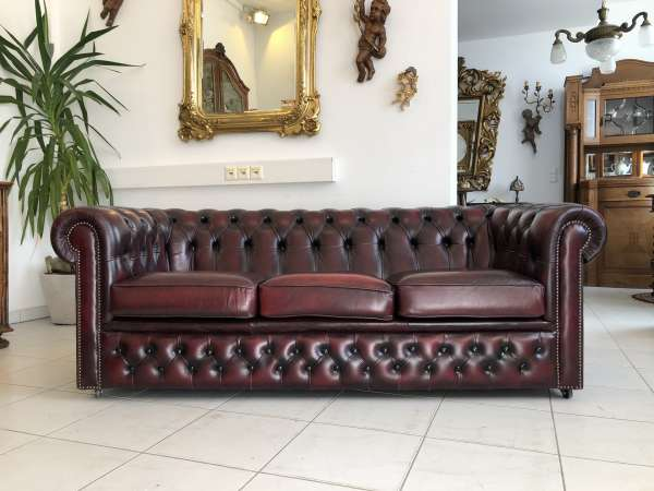 Chesterfield 3er Clubsofa Diwan Couch Oxblood Z1476