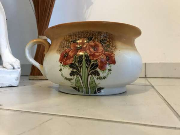 Keramik Nachttopf mit Floraldekor Jugendstil Arts & Crafts England ~1900 W3034