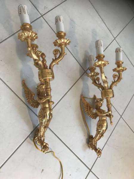 2 antike Barock Wandleuchten Wandlampen golden Leuchter W1852