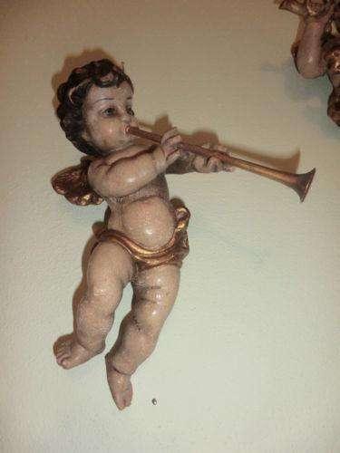 Engelsfigur Engel Holzfigur Holzschnitzerei Trompete Nr. 8355