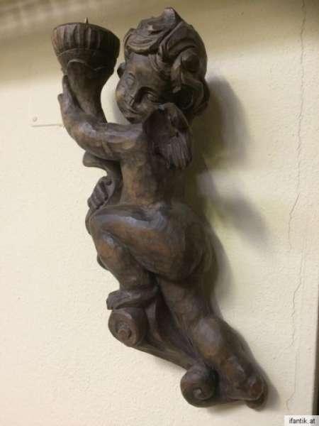 antike Engelsfigur Engel Holzfigur Holzschnitzerei Putto - 8405